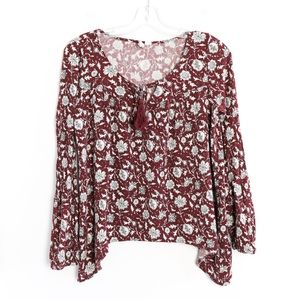 Others Follow floral boho print tassel maroon red